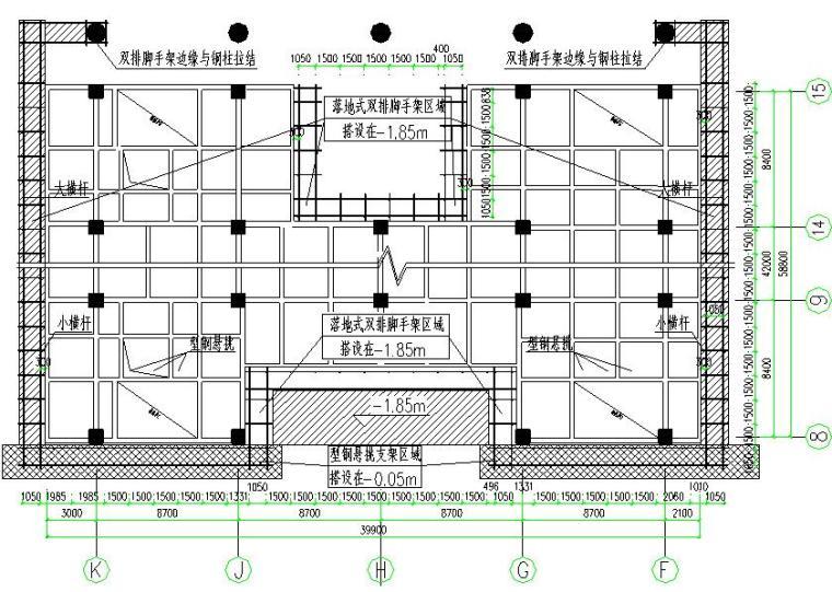 裙楼悬挑+落地式外墙双排脚手架施工方案