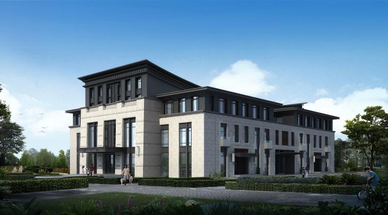 新中式风格八合院高层办公楼建筑模型设计