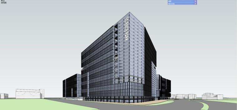 办公-现代风格的商业办公楼建筑su模型设计