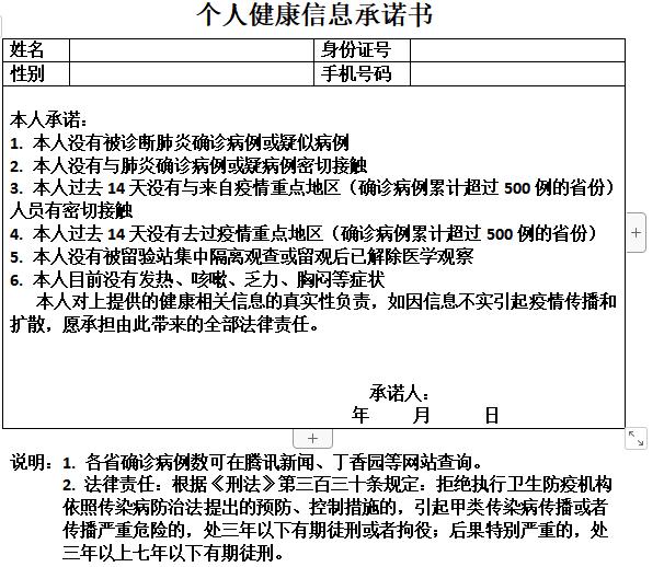 中级职称个人述职报告资料下载-疫情个人承诺书(模板)