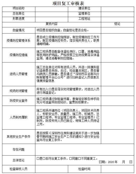 项目复工审核表