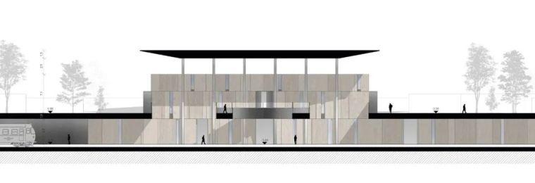 极简火车站_45x35米的金属屋顶,柱子支撑_16