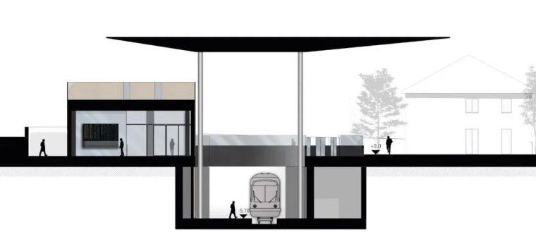 极简火车站_45x35米的金属屋顶,柱子支撑_20