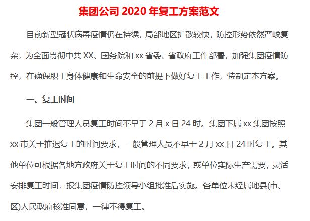 集团公司2020年复工方案范文