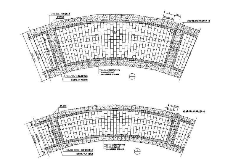 园路铺装标准化设计-灰色弧线石材铺装样式