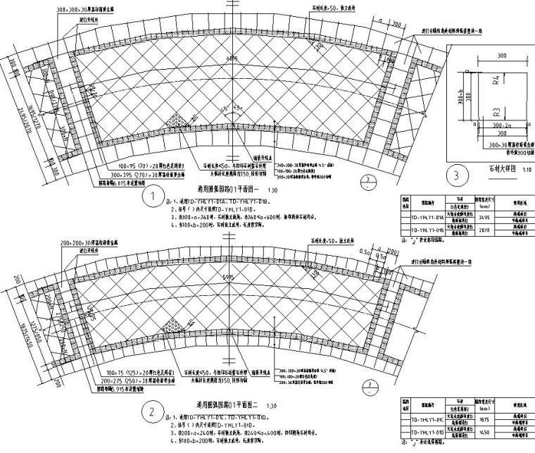 园路铺装标准化设计-红色弧线石材铺装样式