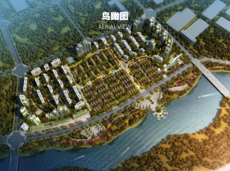 成都天府新区洋房+联排+合院项目投标方案-鸟瞰图