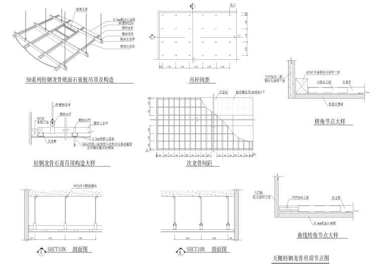 天花,墙面,地面拼接等CAD节点大样详图