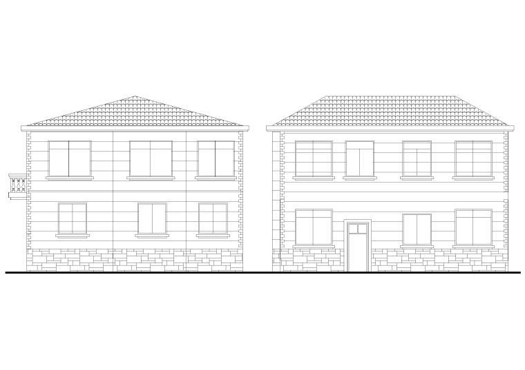 自建房二层独栋别墅建筑设计装饰施工图