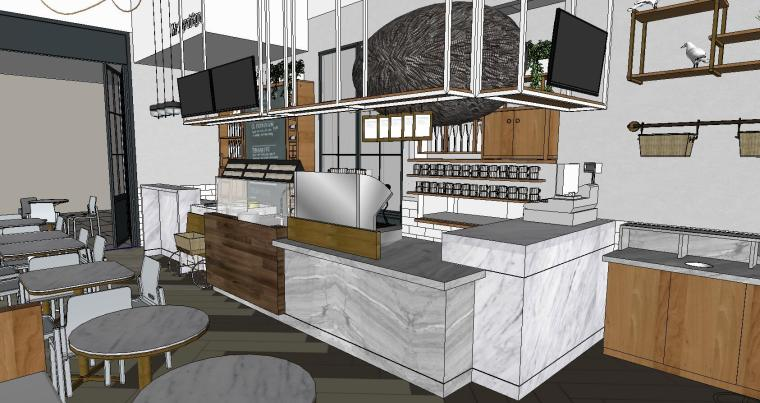 现代餐厅室内SU模型