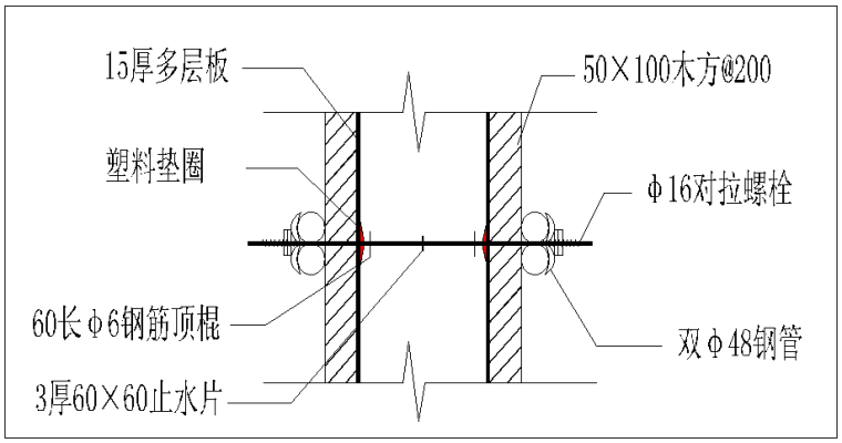 多栋高层塔楼项目木模板施工方案-对拉螺栓细部图