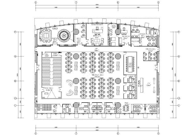 [广东]融通华都办公室空间室内设计竣工图-平面布置图