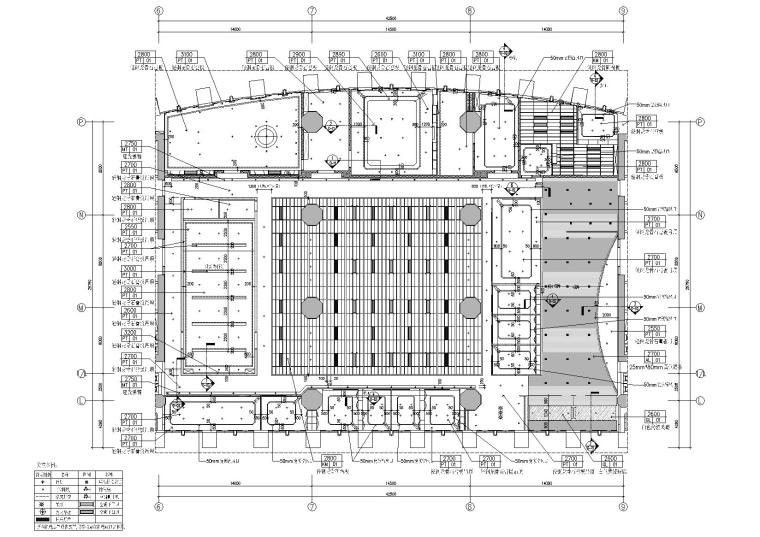 [广东]融通华都办公室空间室内设计竣工图-天花造型尺寸布置图