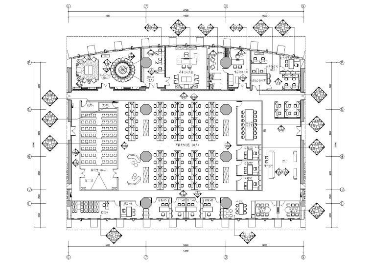 [广东]融通华都办公室空间室内设计竣工图-立面索引图