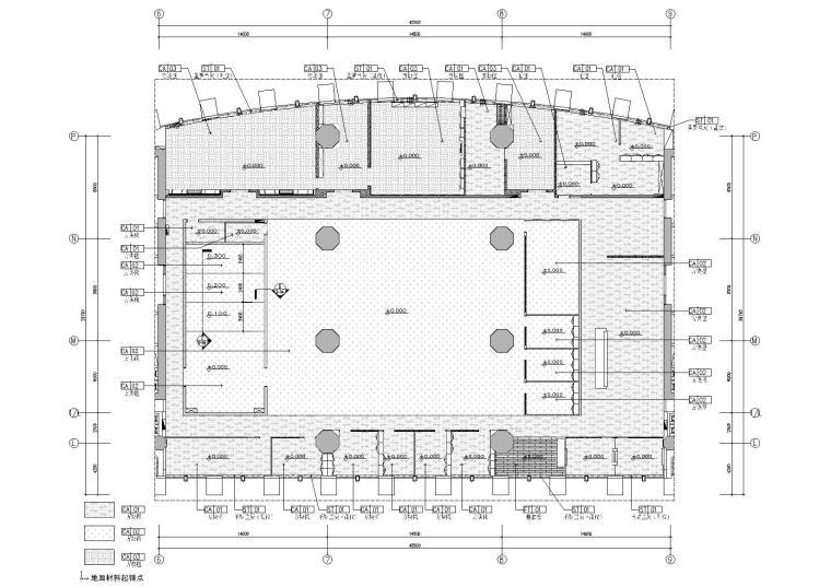 [广东]融通华都办公室空间室内设计竣工图-地面铺装图