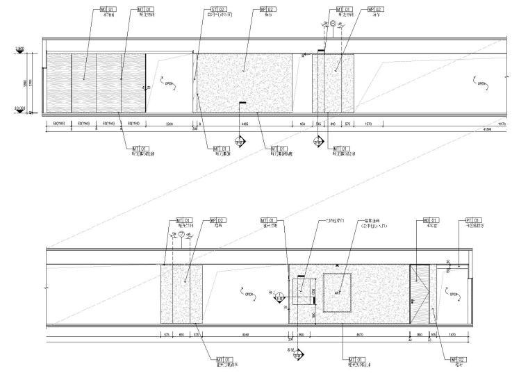 [广东]融通华都办公室空间室内设计竣工图-过道立面图