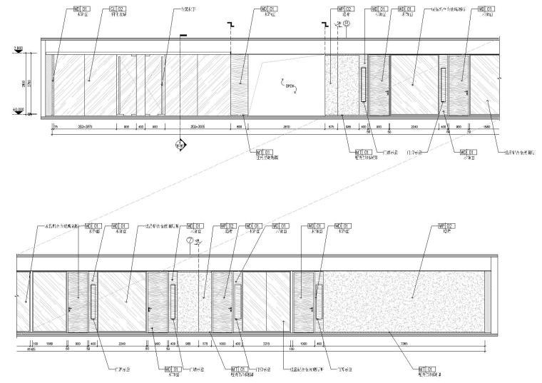 [广东]融通华都办公室空间室内设计竣工图-过道立面图2
