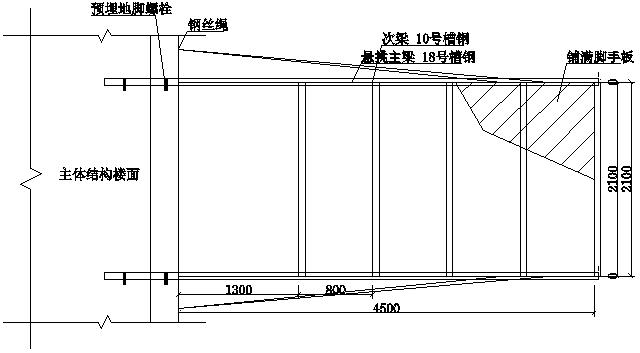 02型钢悬挑式卸料平台平面布置图