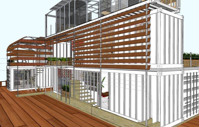 集装箱改造住宅SU草图大师模型