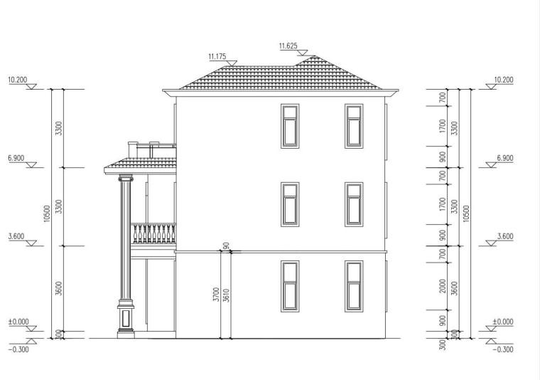 三层单家带露台别墅建筑设计图-右立面尺寸图纸