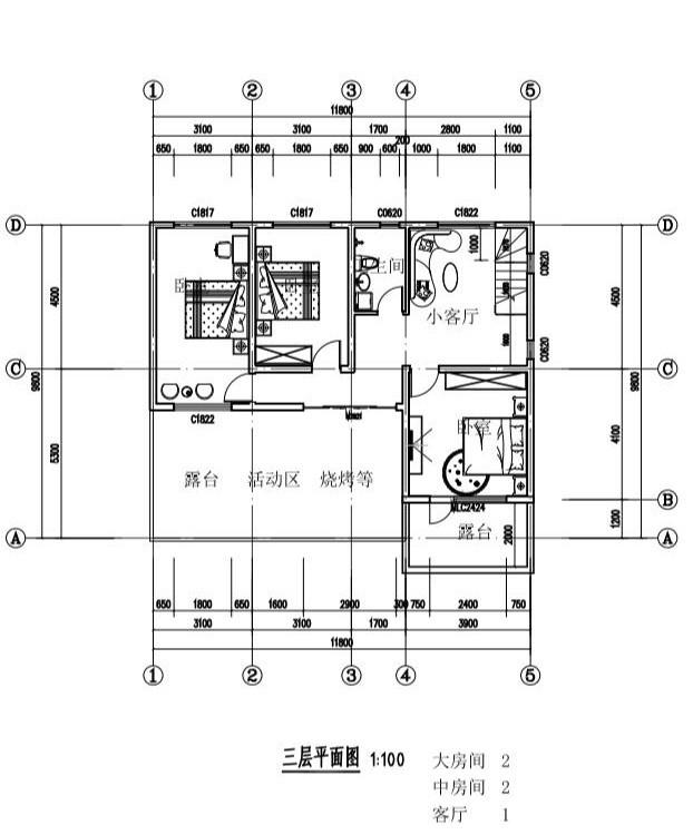 三层单家带露台别墅建筑设计图-三层平面图纸