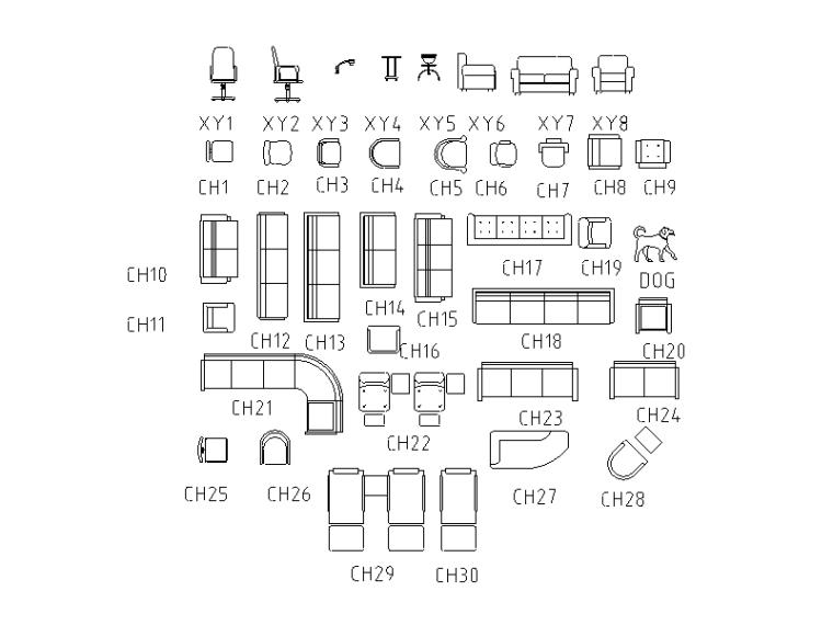 建筑平立面家具配景CAD