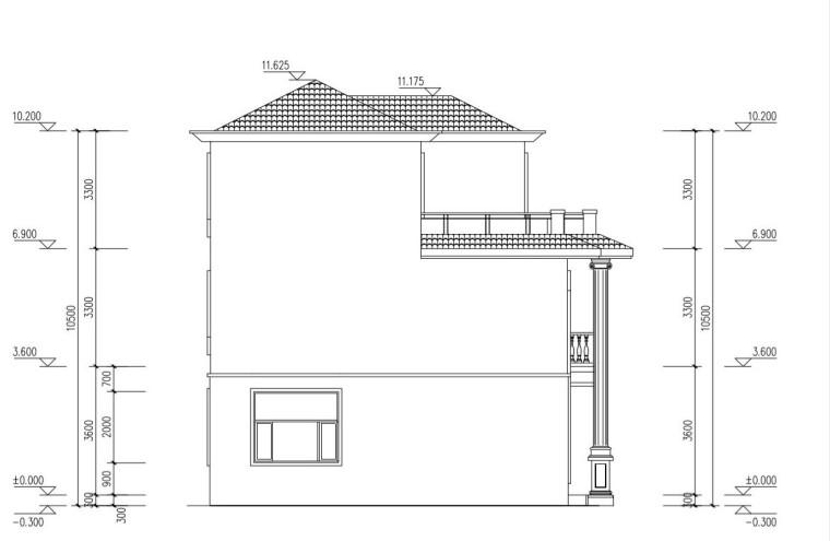 三层单家带露台别墅建筑设计图-左立面尺寸图纸