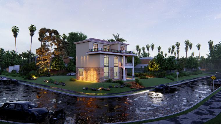 三层单家带露台别墅建筑设计图-效果图