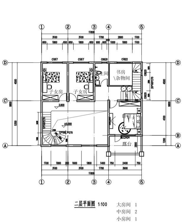三层单家带露台别墅建筑设计图-二层平面图纸