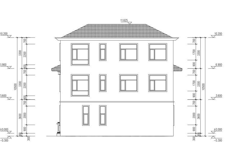 三层单家带露台别墅建筑设计图-背立面尺寸图纸