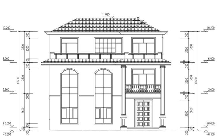 三层单家带露台别墅建筑设计图-正立面1