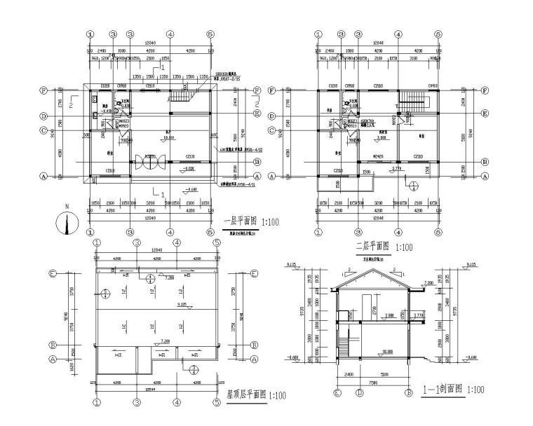 二层坡屋顶别墅砖混结构施工图(CAD)