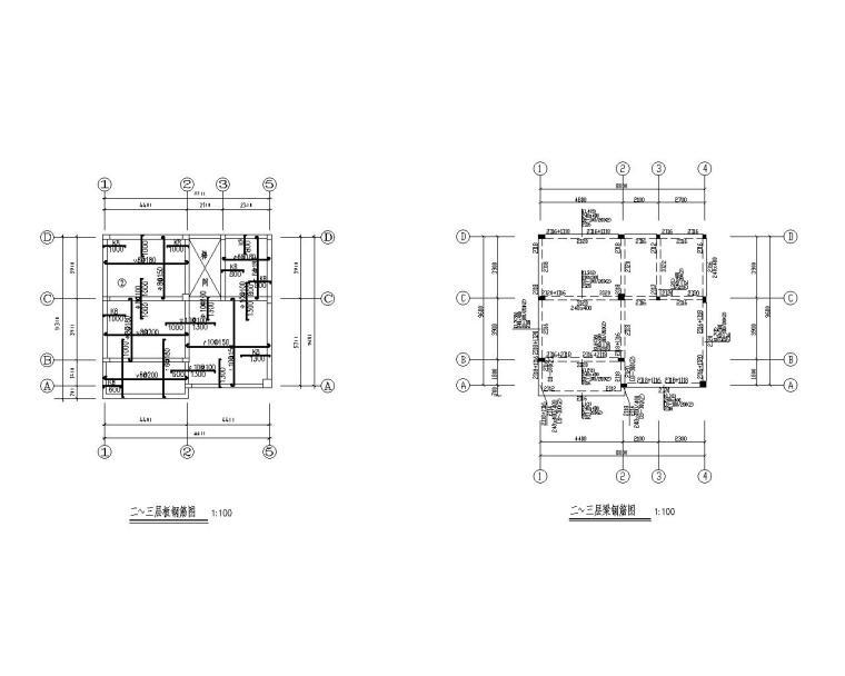 某三层别墅混凝土结构施工图(CAD)