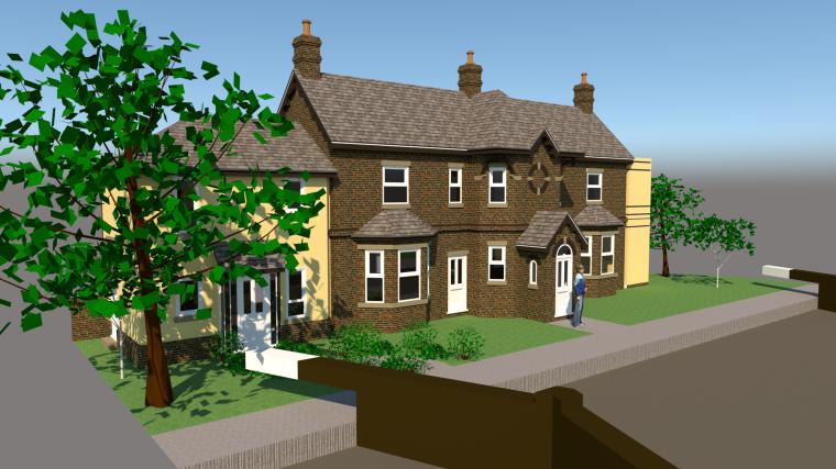 大面宽小进深传统欧式2层别墅su模型