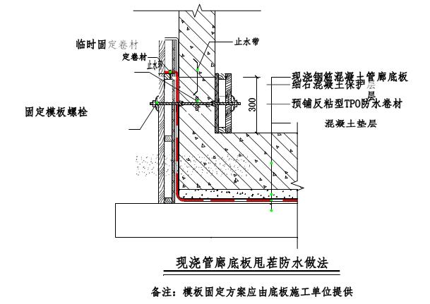 底板与侧墙交接处节点处理