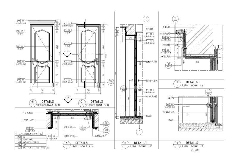 装饰门大样节点及详图合集+饰线表