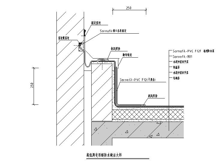 建筑墙身外墙保温防水玻璃幕墙节点CAD图纸