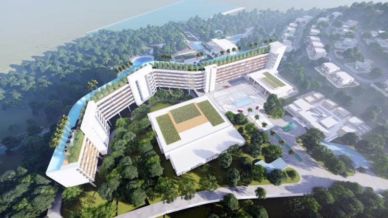 海南南燕湾万豪山地度假酒店建筑模型设计 (1)