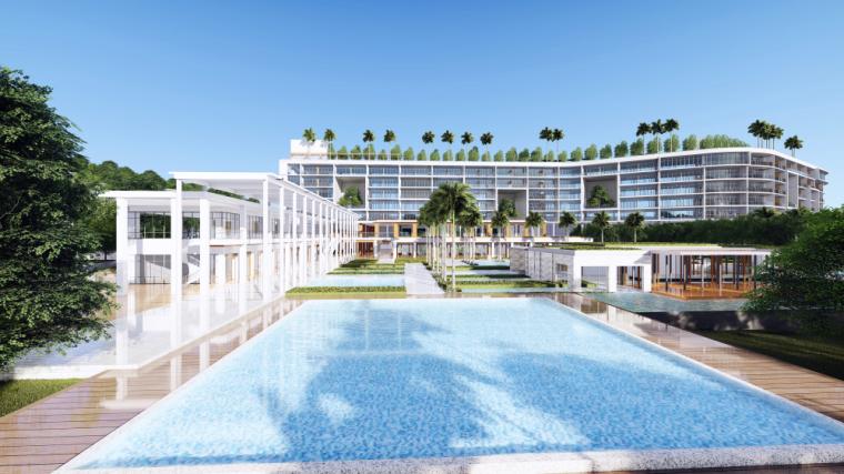 海南南燕湾万豪山地度假酒店建筑模型设计 (2)
