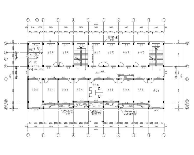 五层框架办公楼结构施工图(CAD含建筑图)