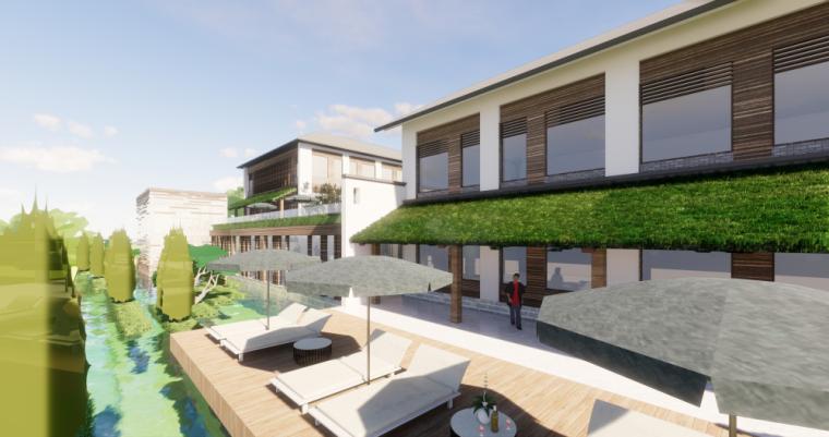 太湖农庄山地中式民宿改造模型设计