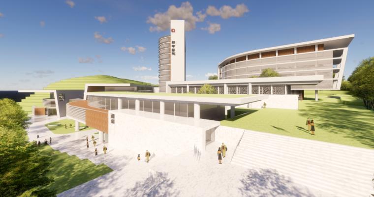 现代风格县中医院+酒店商业街建筑模型设计 (1)