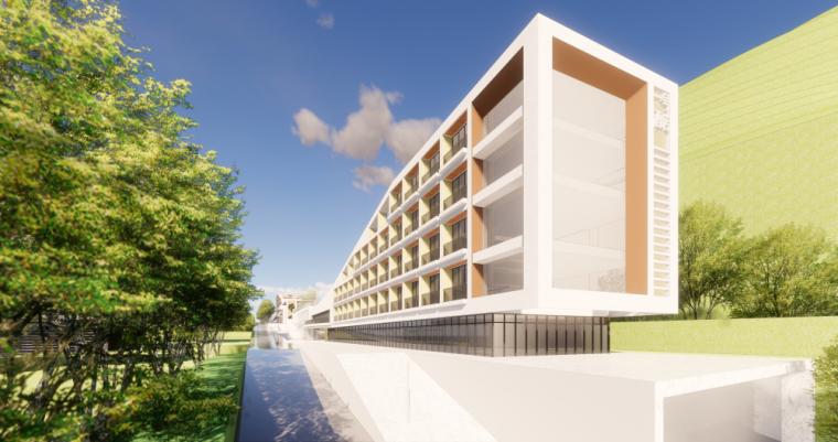 现代风格县中医院+酒店商业街建筑模型设计 (2)