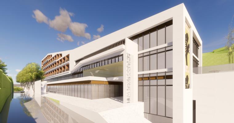 现代风格县中医院+酒店商业街建筑模型设计 (3)