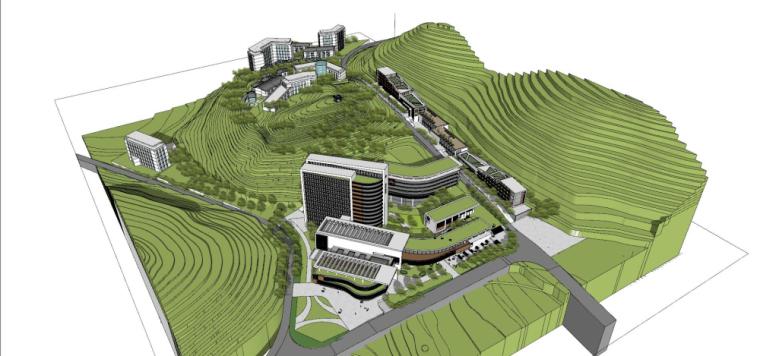 现代风格县中医院+酒店商业街建筑模型设计 (4)