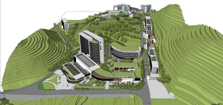 现代风格县中医院+酒店商业街建筑模型设计 (5)