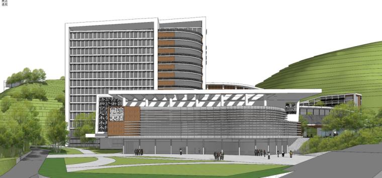 现代风格县中医院+酒店商业街建筑模型设计 (7)