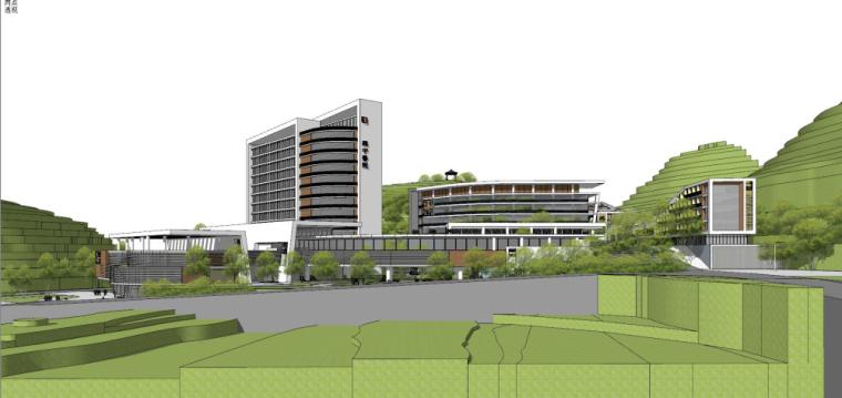 现代风格县中医院+酒店商业街建筑模型设计 (6)