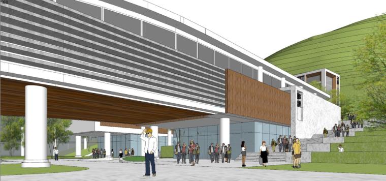 现代风格县中医院+酒店商业街建筑模型设计 (9)