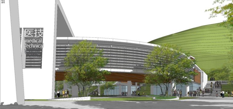 现代风格县中医院+酒店商业街建筑模型设计 (8)